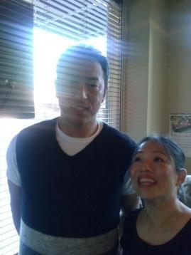 Am I short or is he tall? Hiroki Kuroda, Yankee's pitcher at Shiro's on my birthday.